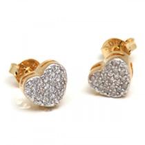 Lindo Par De Brinco Chuveiro Coração Em Ouro 18 K E Diamates
