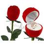 Caixa De Veludo Rosa C/ Cabo Anel Aliança Brinco Presente