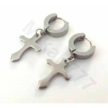 Brinco (1unidade) Masculino Argola Articulada Cruz Aço Inox