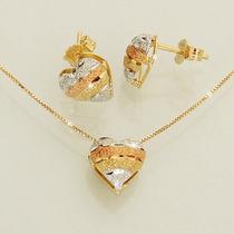 Conjunto Três Tons De Ouro 18k 750 Feminino Coração