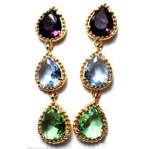 Promoção-ss17-brinco Folh.ouro Ametista-topazio-quartzo Verd