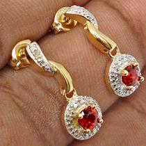 Granada E Diamante Nat- Brinco De Prata 925