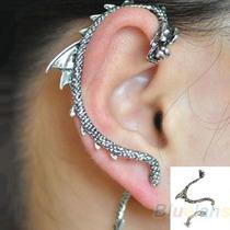 Brinco Piercing Ear Cuff Game Of Thrones Dragão - Dour/prat