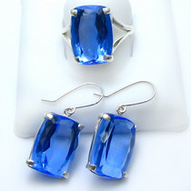 Lindo Brinco E Anel Quartzo Topázio Azul Prata 950k Antique