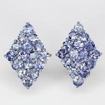 Jóia Conjunto Pedras Tanzanita Azul - Ouro Branco 14k