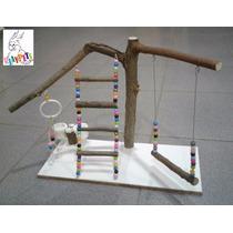 Playground Parquinho Rústico Natural Para Calopsita +brinde!
