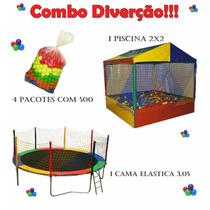 Kit Piscina De Bolinha 2x2 Cama Elastica 3,05 E 2000 Mil Bol