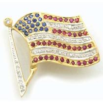 Broche Estados Unidos Em Ouro C/ 39pts Em Brilhantes J8200