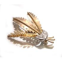 Broche De Penas Design Antigo Em Ouro E Brilhante - D197