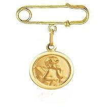 Nelcy Joias Alfinete E Medalha Anjo Da Guarda Ouro 18k 750