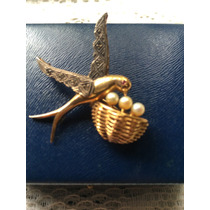 Antigo Broche Ouro 18 K -cravejado De Brilhantes - Olho Rubi