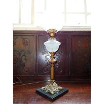 Espetacular,raro Abajournoveau Em Bronze/satin Glass,frança