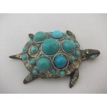 B. Antigo - Tartaruga Enfeite De Mesa Em Bronze E Pedras