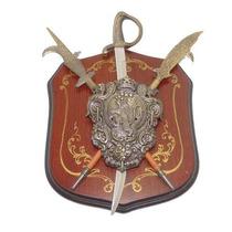 Antigo Brasão Escudo Medieval De Parede Mini Espadas