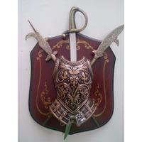 Escudo Medieval Brasao Espada Com Suporte Frete Gratis