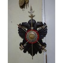 Brasão Escudo Damasquinado De Toledo Madeira Aço Ouro 3761