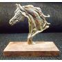 Escultura Em Bronze Cabeça De Cavalo.