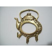 Porta Chaves Em Bronze Puro Formato Chaleira