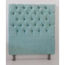Cabeceira Solteiro Tecido Azul Turquesa P/cama Box 1,00 Larg