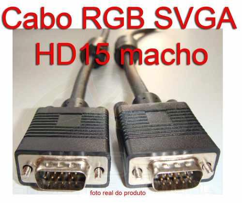 Cabo Vga Para Pc Tv Monitor Lcd Projetor 5 Metros Sem Perdas