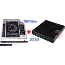 Kit Caddy 9.5 Segundo Hd + Case Usb Cd/dvd Rom Sata Externo