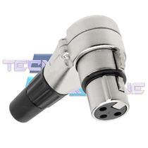Plug Xlr Femea Canon 90 Graus P/ Microfone Dmx Mesa De Som