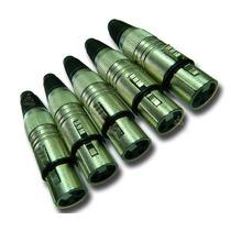 Conectores Xlr/cannon Femea Prata P/ Cabo Kit De 5 Pçs