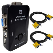 Kit Chaveador Kvm Switch 2 Portas + 2 Cabos Kvm P/ 4 Pcs/cpu