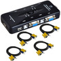 Kit Chaveador Kvm Switch 4 Portas + 4 Cabos Kvm P/ 4 Pcs/cpu