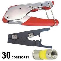 Kit Alicate Compressao Decapador Coaxial + 30 Conectores Rg6