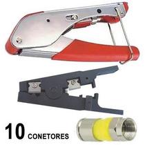 Kit Alicate Compressao Coaxial Decapador 10 Conectores Rg6