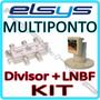 Kit Lnbf Elsys Multiponto Eletronico Banda C + Divisor 4x1