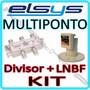 Kit Lnbf Multiponto Elsys Eletronico Banda C + Divisor 4x1