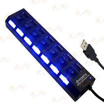 Hub Usb 7 Portas Pen Drive Mouse Teclado Pc Notebook Windows