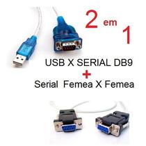 Cabo Usb Serial Rs232 + Cabo Rs232 Femea X Femea Null Db9