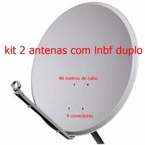 Kit 2 Antena 60cm Banda Ku Lnbf Duplos 40m De Cabo