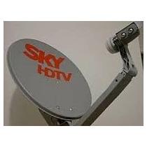 Antena 60 Cm Banda Ku+lnb Duplo Sky +20 Metros Cabos