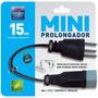 Mini Prolongador Pp 3x075 15cm 2p+t Preto 1710 Daneva