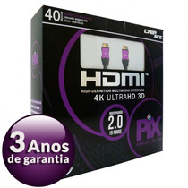 Cabo Ultra Hd Hdmi 40 Metros 2.0 4k 3d 19 Pinos 018-4120