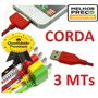 Kit/10 Cabo Dados Carrega Usb Iphone 3 4 4s-corda De 3 Metro
