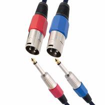 Kit 2 Cabos Xlr Macho P10 Mono Plug Conector Canon 3 Metros