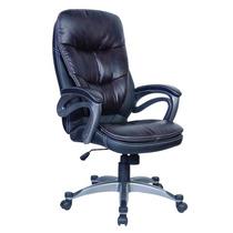 Cadeira Presidente Couro P.u Com Sistema Relax Preta Marrom