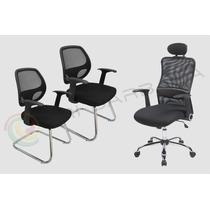 Kit Luxo: 1 Cadeira Giratória Presidente + 2 Fixas De Atend