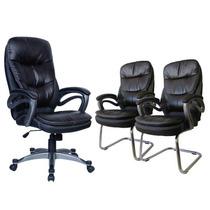 Cadeira Presidente + 2 Cadeiras Interlocutor Em Couro C/ Nf