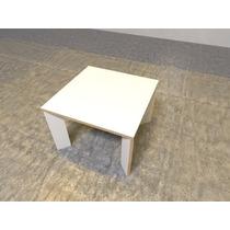 Mesa Centro Reta Mdf Branco Quadrada Desmontável De Encaixes