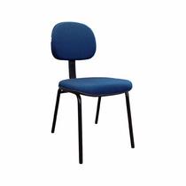 Cadeira Secretaria Fixa Tecido Azul Plaxmetal