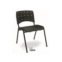 Cadeira Iso Plástica Com Assento E Encosto Em Plastico Preto