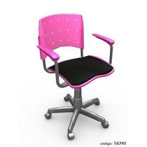 Cadeira Giratória Plástica Estofada C/ Braços