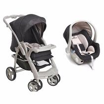 Carrinho Berço Bebê Conforto Travel System + Base Cinza Off