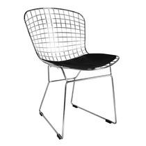 Cadeira Bertoia Cozinha Estrutura Cromada C/ Almofada Preta